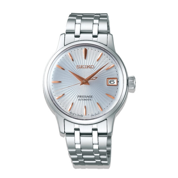 """Seiko Ladies Presage Automatic Watch """"Cocktail Time"""" Silver Dial Rose Highlights SRP855J_0"""