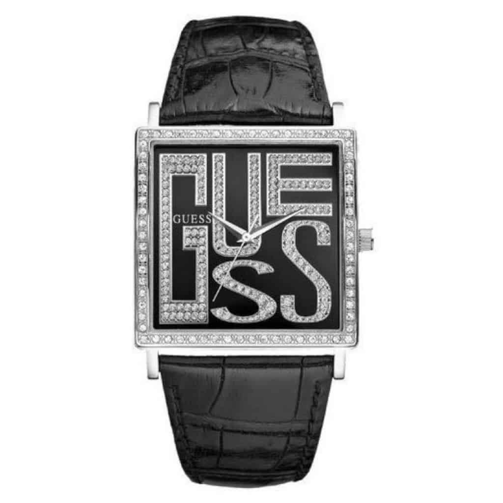 Guess Black Square Leather Watch W95056l1_0