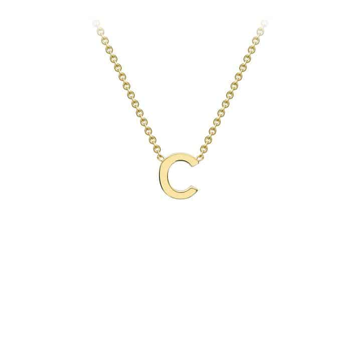 9K Yellow Gold Initail C Necklace 38+5cm
