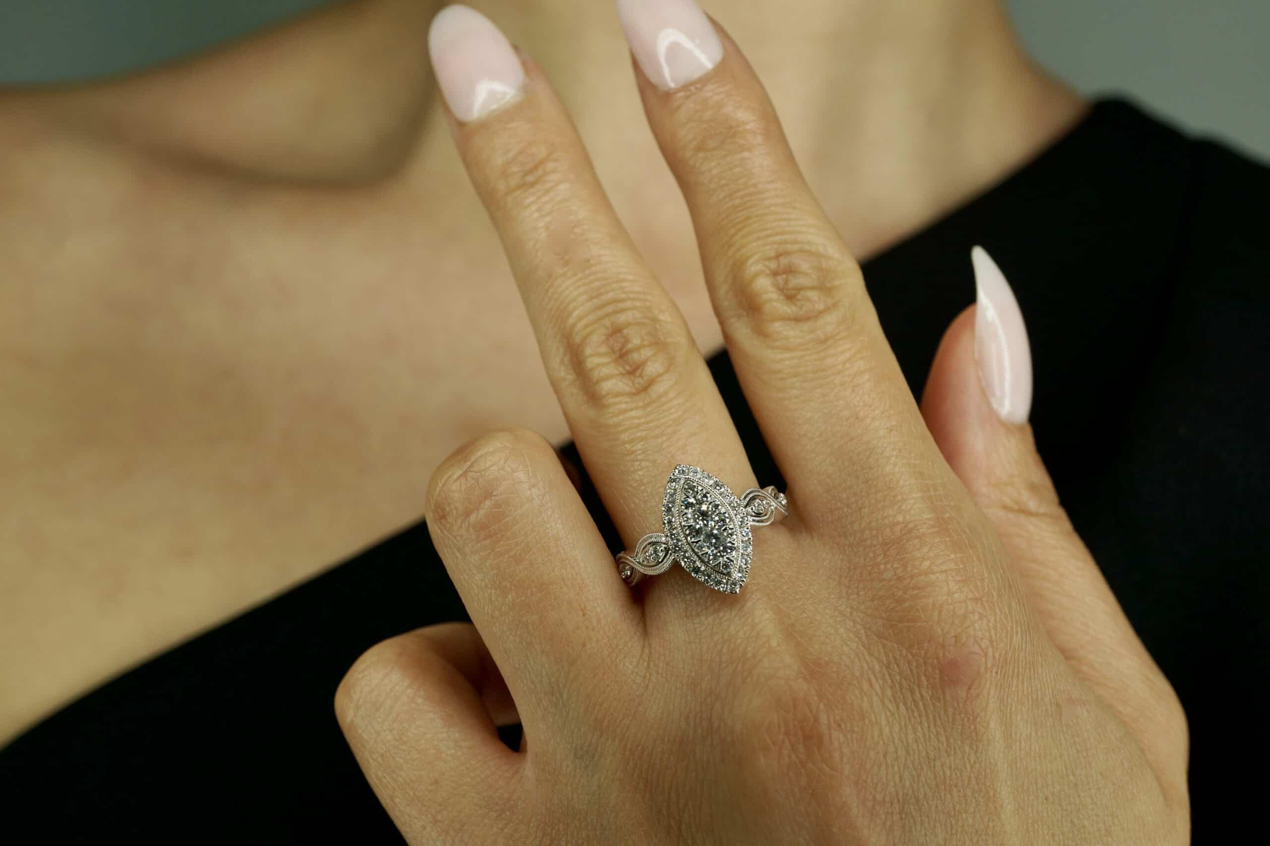 White Gold Marquise Vintage Diamond Ring