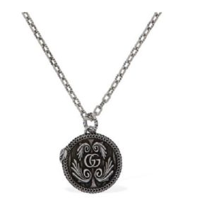 gucci garden necklace 7OCM snake motif pendent aged silver_0