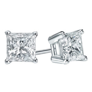 18k Princess Cut Diamond Studs Grade F SI 0.30ct_0