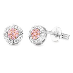9ct White Gold Cluster Set Pink Argyle Diamond earrings_0