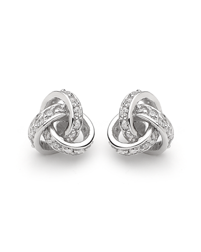 Love knot clear cubic zirconia earrings_0
