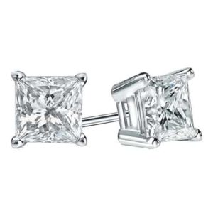 18k Princess Diamond Studs Grade F SI 1.00ct_0
