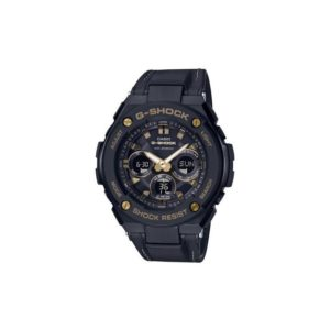 GSTS300GL-1A / Black with Gold / Leather band / Analog Digital_0