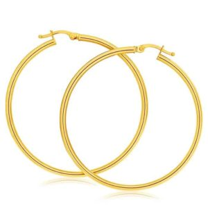 18k Yellow Gold 15mm Hoop Earrings_0
