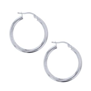 9k White Gold 20mm Plain Hoop Earrings_0