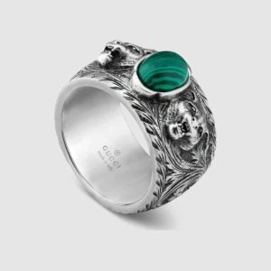 GUCCI GARDEN RING SILVER & MALACHITE YBC461991001023_0