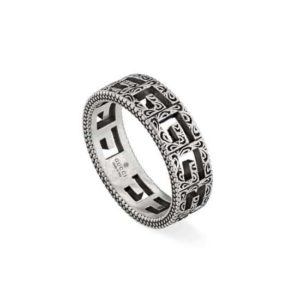 silver gucci ring square size s size 20_0