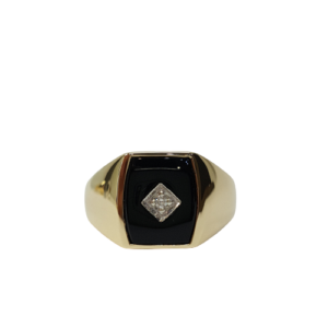 9ct yellow gold Onyx and diamond signet ring_0