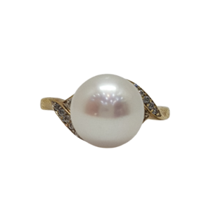 9ct yellow gold freshwater pearl and crystal set ring_0