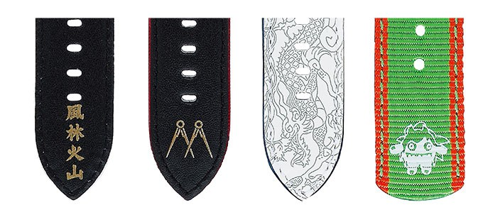 Seiko 5 Detail designs of straps inspired by Ryu, Ken, Chun-Li, and Blanka. (from left to right)