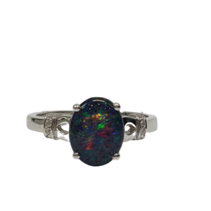 Sterling silver rhodium plated triplet opal and crystal set ring_0