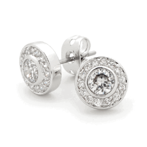 WHITE CZ ROUND EARRING IE374_0
