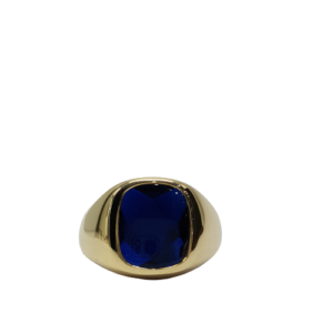 9ct yellow gold blue synthetic sapphire set signet ring_0