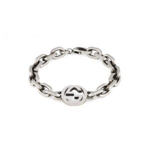 Gucci Interlocking G Bracelet Aged Silver Size 19_0