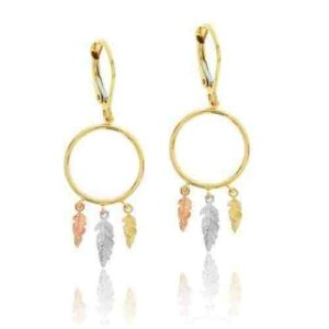 9k Yellow , White and Rose Gold Dream Catcher Feather Drop Earrings_0