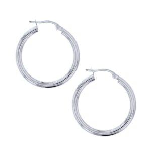 9k White Gold 20mm Plain Hoop Earrings_0