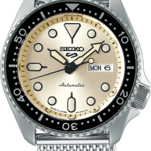 SEIKO's iconic watch collection, the SEIKO 5 series was first introduced in 1963 and has been an integral part of the SEIKO watch family ever since. 2019 sees the SEIKO 5 series take on a new modern look, and a new SEIKO 5 logo, but this robust collection maintains the hallmarks of the very first watch range. Specifications Calibre Calibre Type Automatic - Powered By The Movement Of The Wearer Calibre Function Analogue - 3 Hands Accuracy +45 -25 seconds a day at normal temperature range (5°C and 35°C) Power Reserve/Battery Life 41 Hours Power Reserve Battery N/A Calibre Number 4R36 Display Analogue Case Water Resistance 100 Metres Case Material Stainless Steel Case Size Thickness: 13.38mm Diameter: 42.5mm Case Colour Silver Band/Bracelet Mesh Bracelet - Stainless Steel Band Colour Silver Band Reference M10D112J0 Glass Material Hardlex Crown Pull Out Layout Dial Colour Cream Hand Indicators Hour, Minute, Seconds Calendar Indicators Date, Day Of The Week Lumibrite Hands & Hour Markers Dial Markers Batons Features Exhibition Case Back Yes Hand Winding Capability Yes Timer On Bezel 5 Years warranty SRPE75K_0