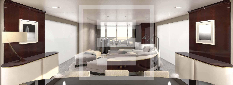 Gli interni di Achille Salvagni, all'insegna di morbide curve, vengono esaltati dalla luce naturale che inonda gli ambienti