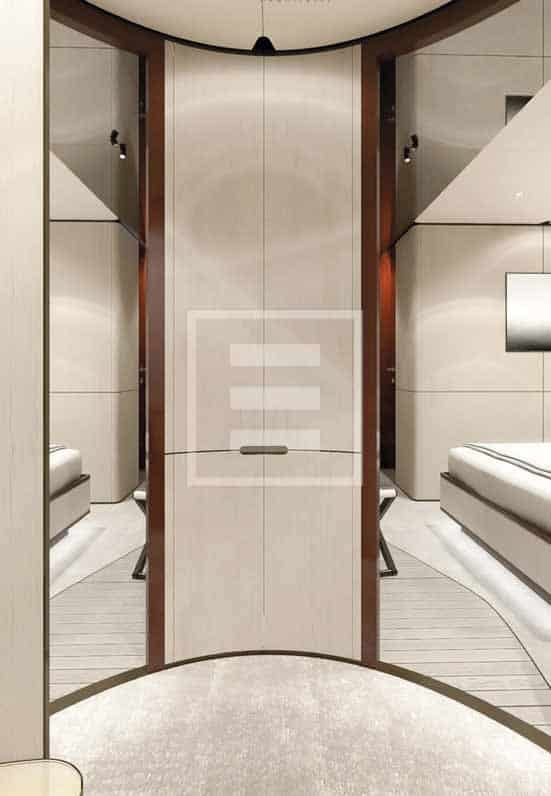 Un particolare delle cabine matrimoniali dell'Azimut Grande 115