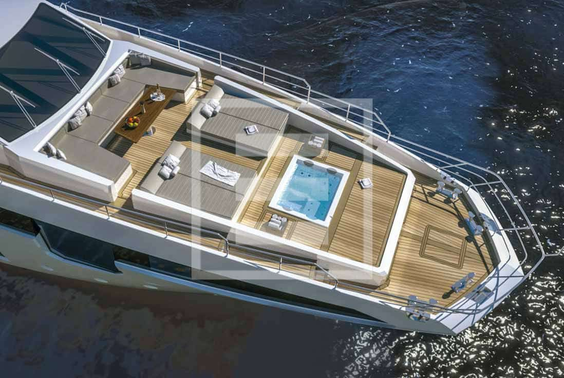 Azimut Grande flagship packing twin 2,400 hp MTUs, it makes 25.5 knots at full throttle