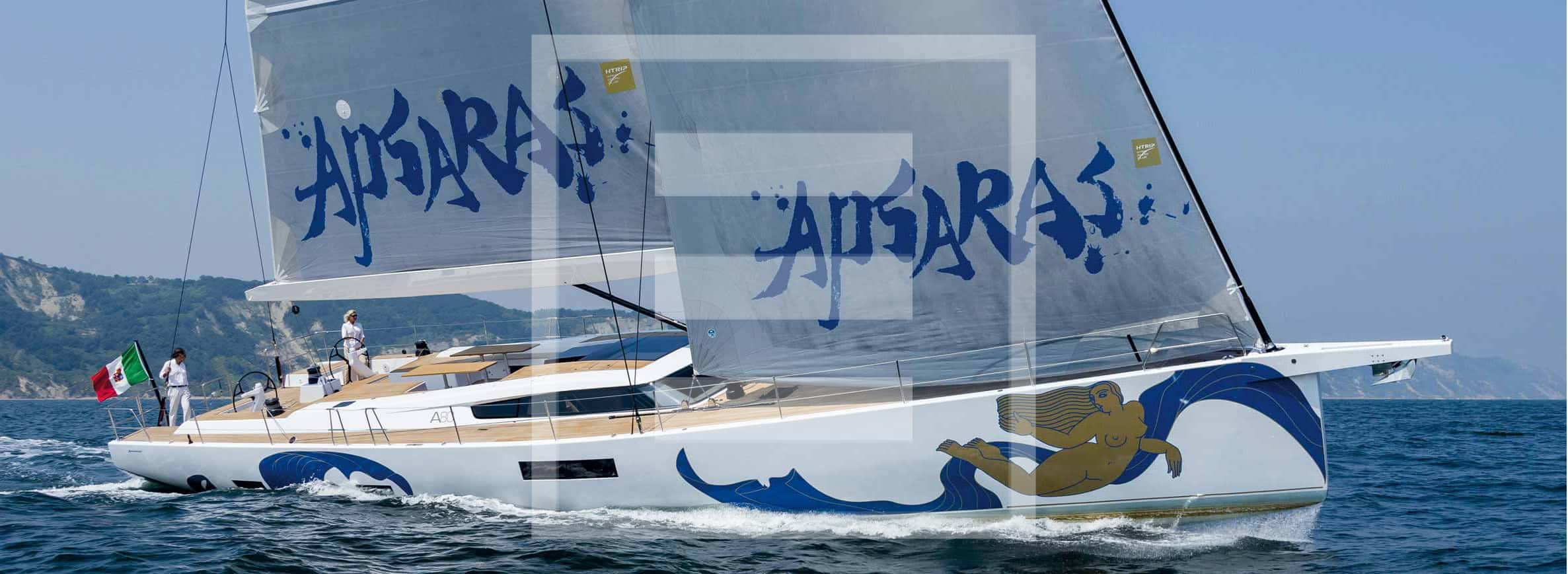 The Advanced A80 sailing upwind. Her sail plan spans 326 square metres in total