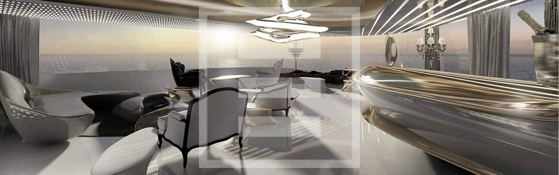 The futuristic interiors that feel like a modern take on 1970s sci-fi chic of the the Admiral XForce 145