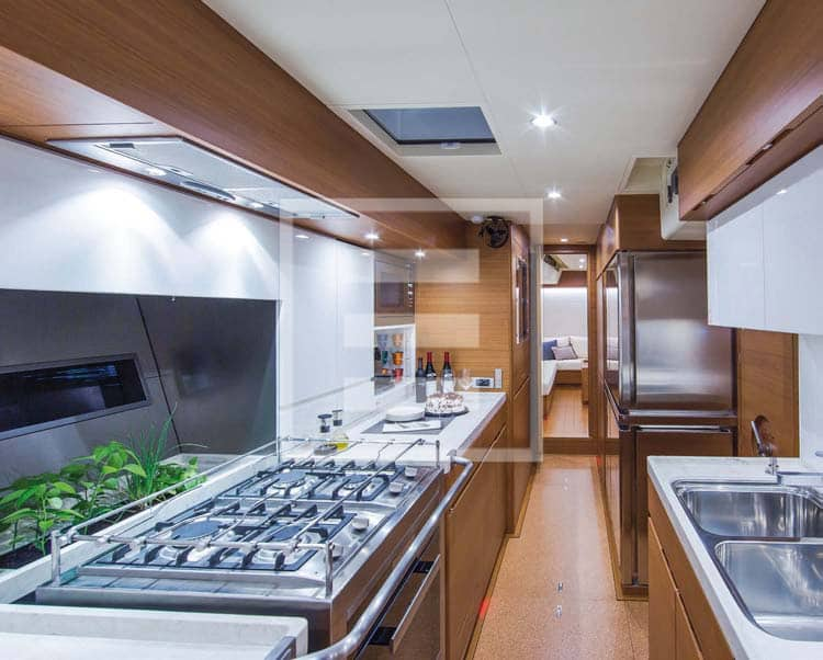 The galley in the crew/ service area aft