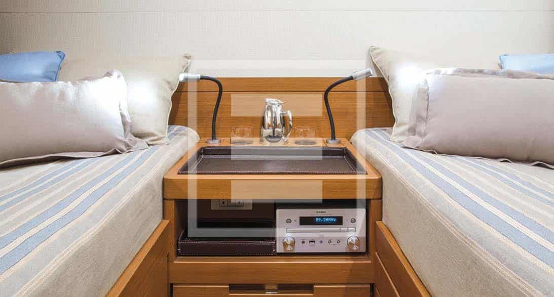 The owner's cabin with two beds rather than the usual one