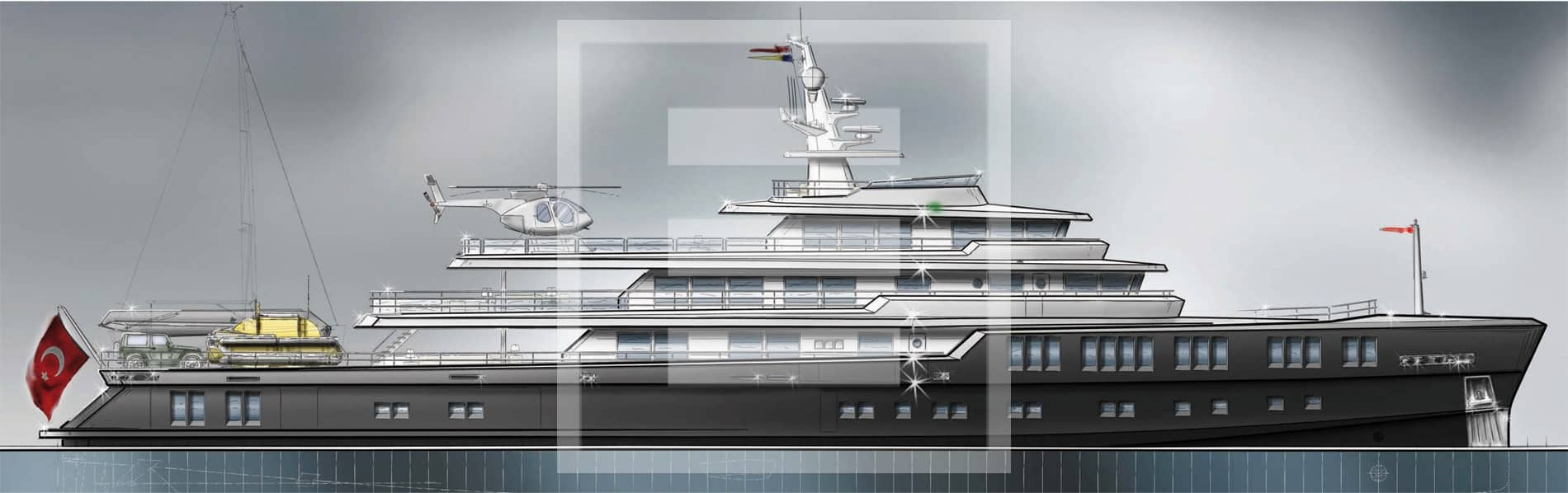 A military-influenced 65-metre explorer by Barracuda Yacht Design