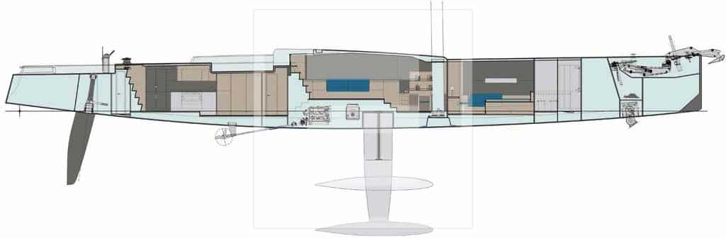 A 100' yacht drawing view from Felci Yacht Design