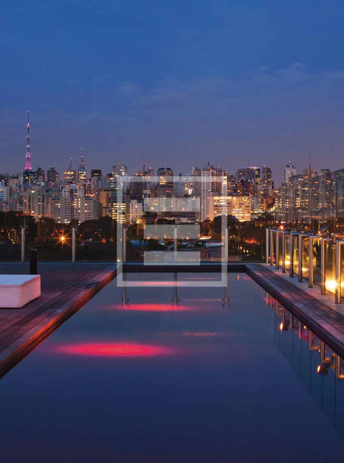 The view of Sao Paulo from the rooftop pool and bar is one of the finest in the city