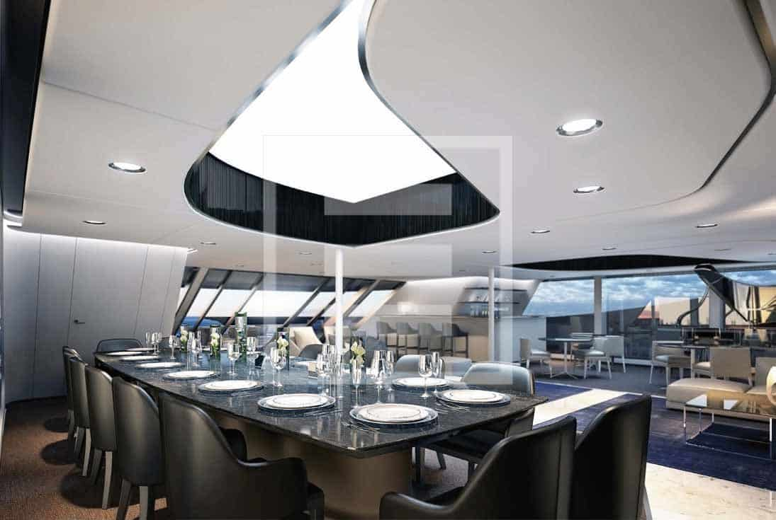 A saloon of the Ottantacinque yacht