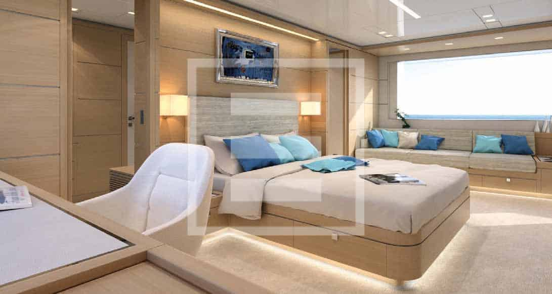 The 26 square metre owner's suite forward on the main deck