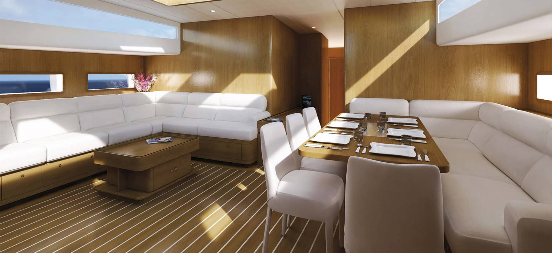 The saloon from the Tommaso Spadolini-designed craft