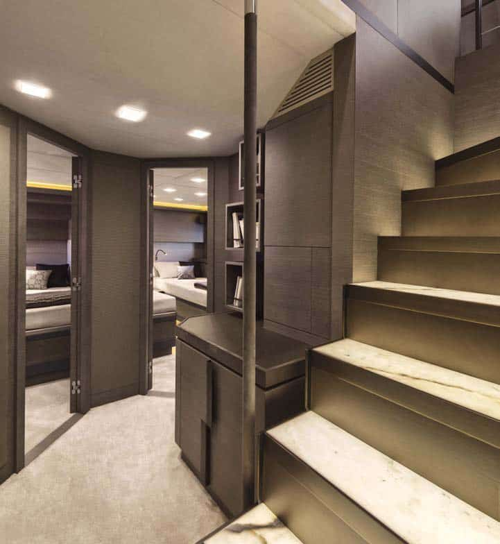 Monte Carlo Yachts MCY 105: the corridor on the lower deck and a two-berth cabin