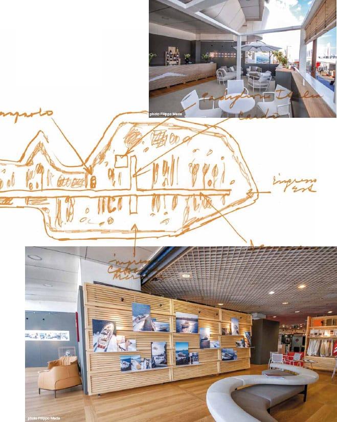Uno spazio esterno del padiglione Intesa San Paolo a Expo 2015, la piantina del Decumano a Expo 2015 e lo stand progettato per Azimut Yachts
