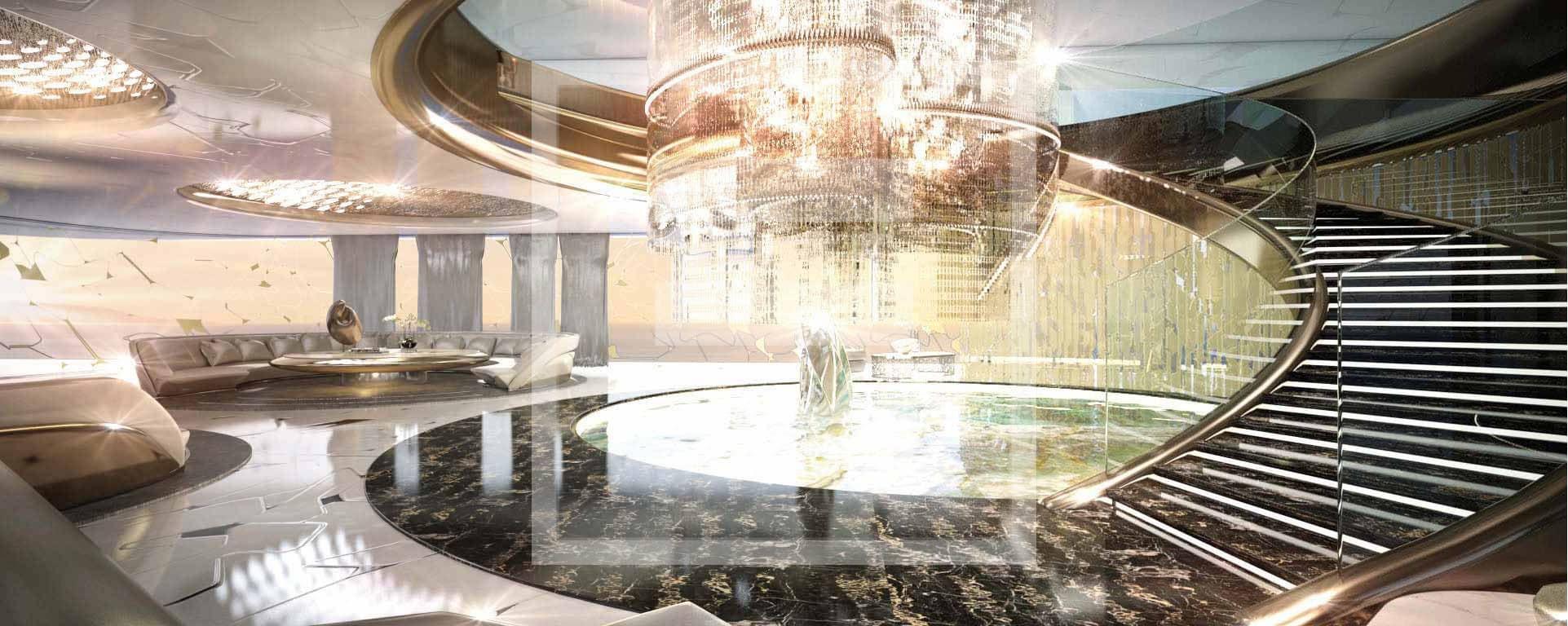 Un design interno futuristico rivisitato che si richiama alla fantascienza degli Anni '70