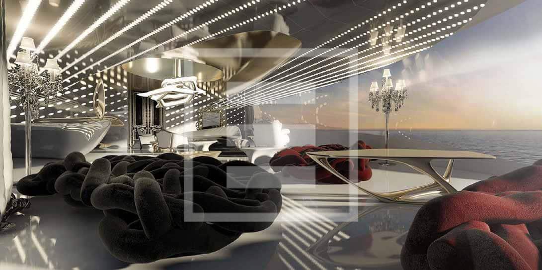 Un'immagine degli interni di Gian Marco Campanino per la spettacolare bow lounge dell'Admiral XForce 145
