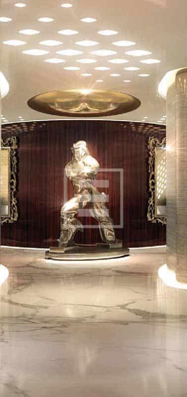 La promenade artistica di un possibile armatore collezionista che viene esaltata dai preziosi materiali usati nel décor e negli arredi