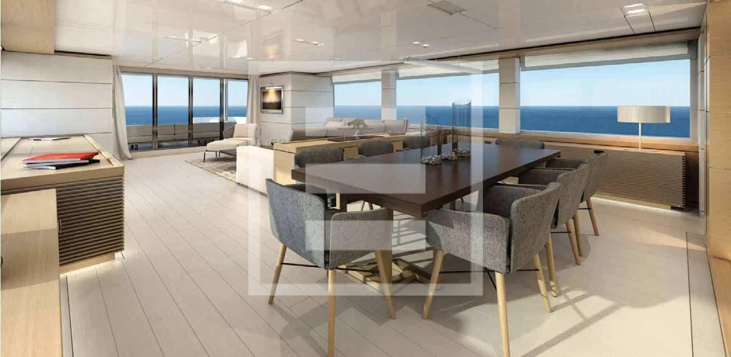 Lo yacht Nauta Air si distingue per le grandi aperture e superfici vetrate che mettono in collegamento interni ed esterni