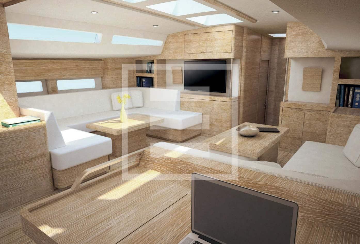 Un'altra vista del salone nel progetto firmato da Unlimited Design