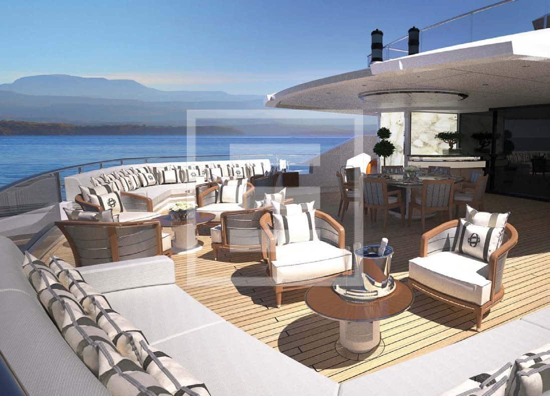 """L'impostazione di """"beach club navigante"""" si realizza nei 357 metri quadrati di spazio sui ponti all'aperto"""
