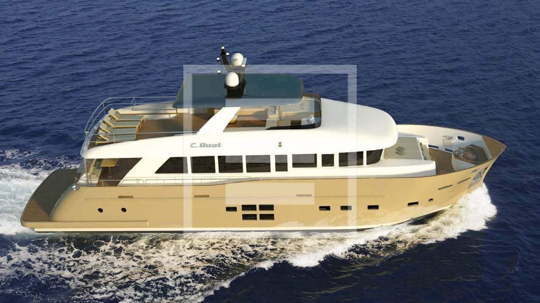 """Il nuovo C.Boat 27 SC """"S Versione"""" si distingue per le ampie superfici vetrate che mettono a contatto con il mare"""