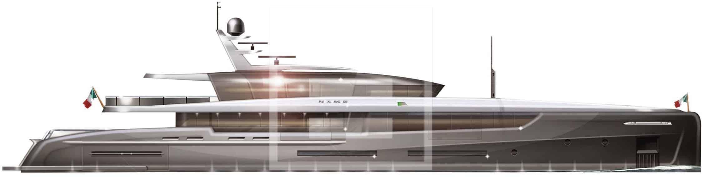 Il rendering di uno yacht di 70 metri sviluppato da Hydrotec