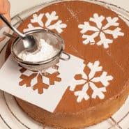 della torta con il cacao, adagiatevi la mascherina precedentemente  preparata con l\u0027aiuto dello schema e spolverizzatela con lo zucchero a velo.