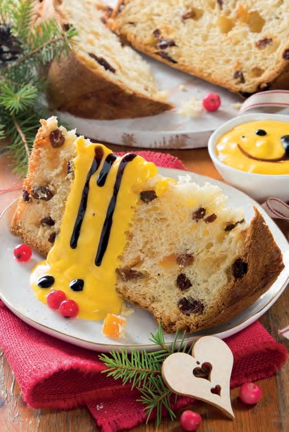 Panettone con crema alla vaniglia e aceto balsamico