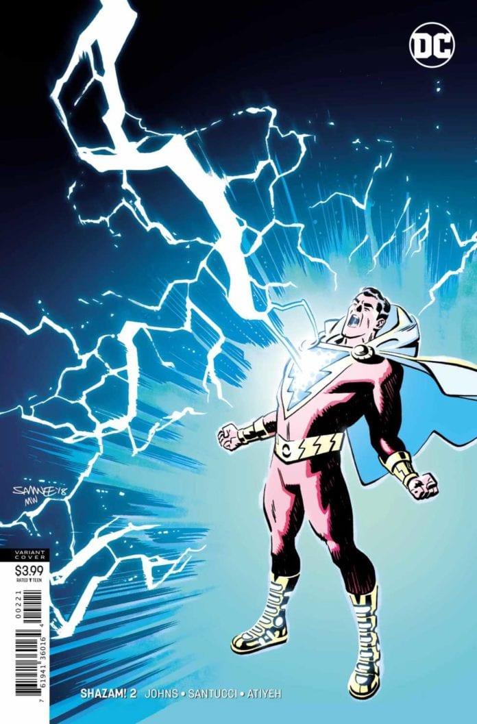 SHAZAM! struck by lightning